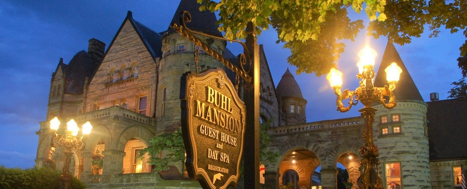 Buhl Mansion exterior evening