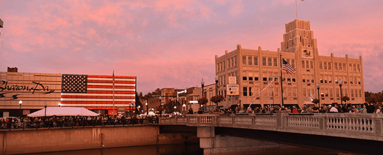 Downtown Sharon PA at Sunset